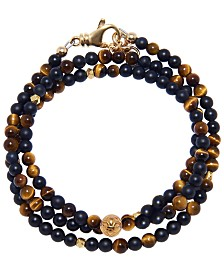 Nialaya The Mykonos Collection - Brown Tiger Eye, Matte Onyx and Gold