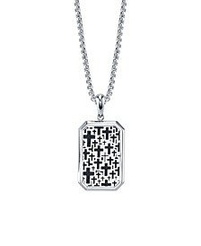 "Cross Dog Tag 24"" Pendant Necklace in Stainless Steel"