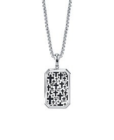 "He Rocks Cross Dog Tag 24"" Pendant Necklace in Stainless Steel"