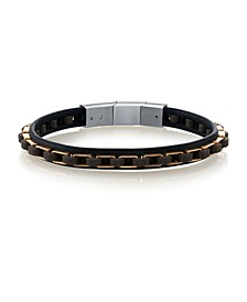 Genuine Leather Bracelet with Rose Gold-Tone Stainless Steel Links
