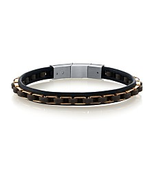 He Rocks Genuine Leather Bracelet with Rose Gold-Tone Stainless Steel Links