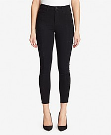 High Rise Skinny Jeans With Side Lattice Diamante