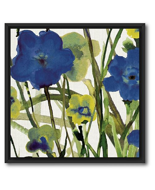 "Courtside Market Picking Flowers I 18"" x 18"" Canvas Wall Art with Float Moulding"