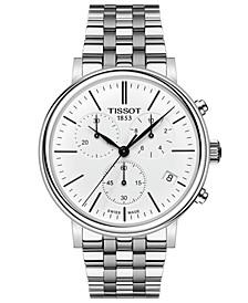 Men's Swiss Chronograph Carson Premium Stainless Steel Bracelet Watch 41mm