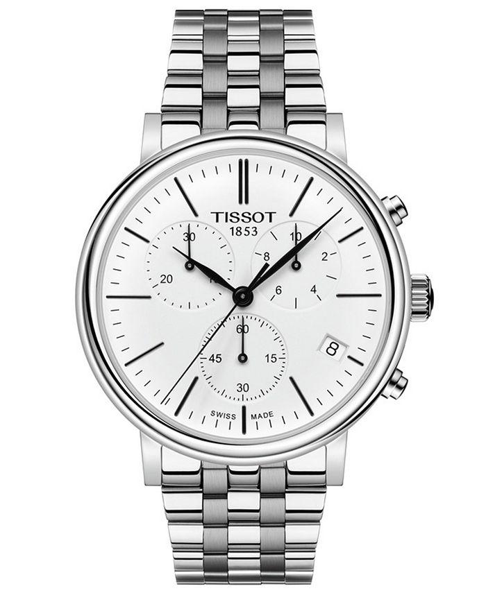 Tissot - Men's Swiss Chronograph Carson Premium Stainless Steel Bracelet Watch 41mm