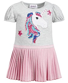 Blueberi Boulevard Baby Girls Sequin Unicorn Skater Dress