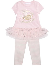 Baby Girls Tutus And Touchdowns Top & Leggings Set