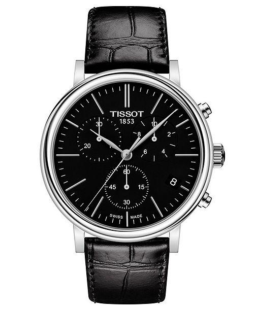 Tissot Men's Swiss Chronograph Carson Premium Black Leather Strap Watch 41mm