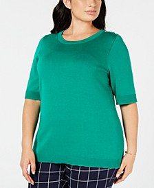 Plus Size Short-Sleeve Sweater, Created for Macy's