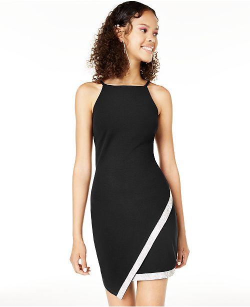 BCX Juniors' Asymmetrical-Hem Rhinestone Dress
