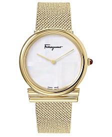 Ferragamo Women's Swiss Gancino Gold-Tone Stainless Steel Bracelet Watch 34mm