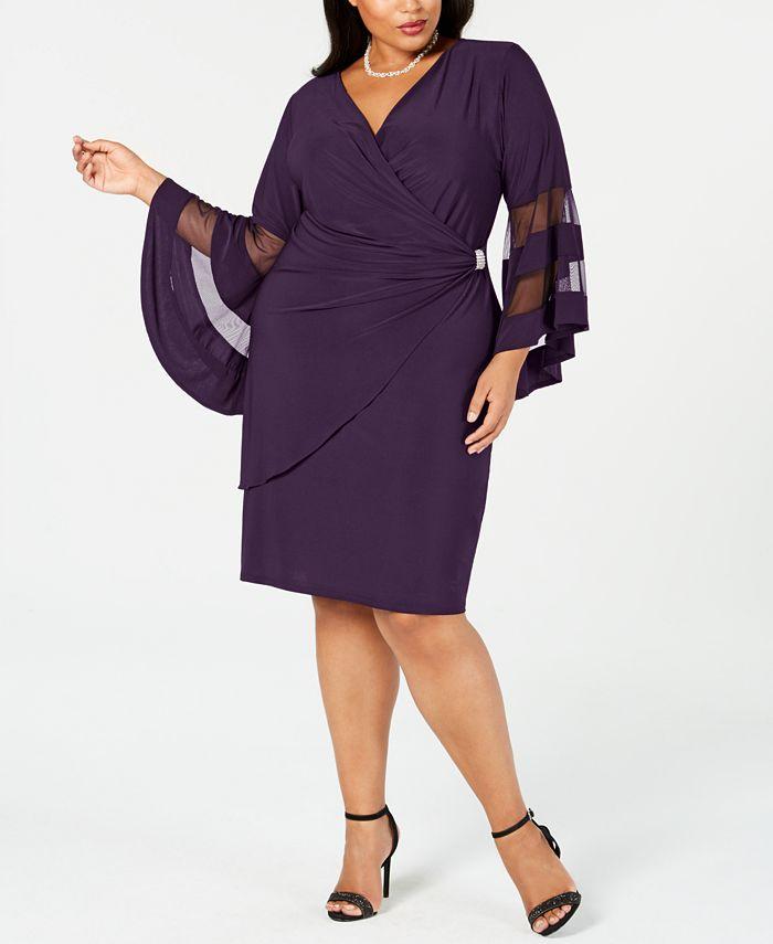 R & M Richards - Plus Size Illusion Bell-Sleeve Dress