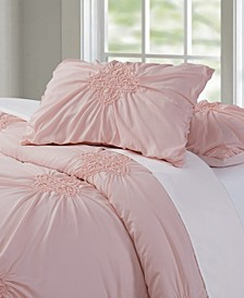 Christian Siriano Georgia Rouched 3 Piece Blush King Duvet Cover Set