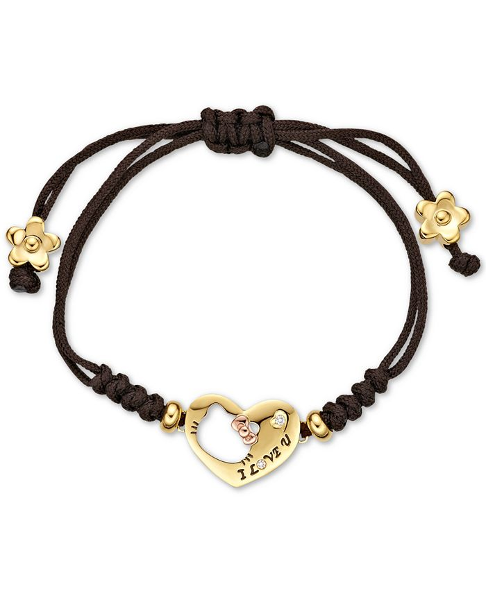 Chow Tai Fook - Diamond Accent Hello Kitty Heart Nylon Bracelet in 18k Gold and 18k Rose Gold