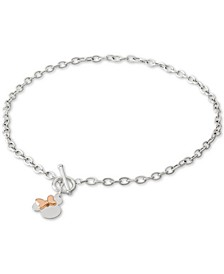 "Minnie Mouse 18"" Pendant Necklace in Sterling Silver and 18k Gold-Plate Over Sterling Silver"