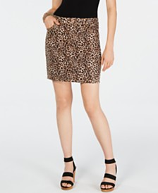 I.N.C. Leopard-Print Denim Mini Skirt, Created for Macy's