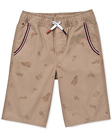 Little Boys Stretch Skateboard-Print Twill Shorts