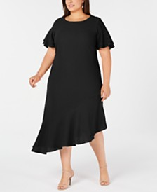 Alfani Plus Size Asymmetric Ruffled A-Line Dress, Created for Macy's
