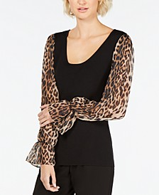 INC Petite Leopard-Print-Sleeve Sweater, Created for Macy's