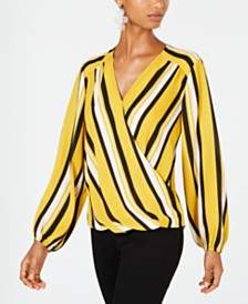 I.N.C. Striped Surplice Top, Created for Macy's