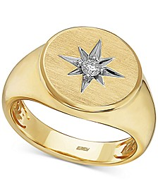 EFFY® Men's Diamond Star Ring (1/10 ct. t.w.) in 14k Gold