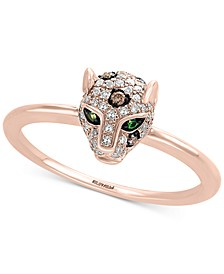 EFFY® Diamond (1/4 ct. t.w.) & Tsavorite Accent Panther Statement Ring in 14k Rose Gold