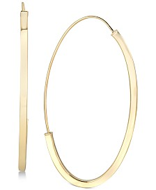 Italian Gold Threader Hoop Earrings in 14k Gold