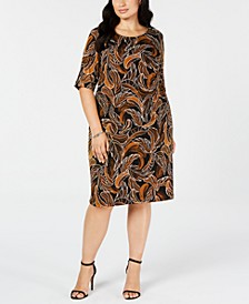 Trendy Plus Size Leaf-Print Sheath Dress