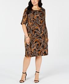 Connected Trendy Plus Size Leaf-Print Sheath Dress