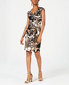 Printed Zip Wrap Dress