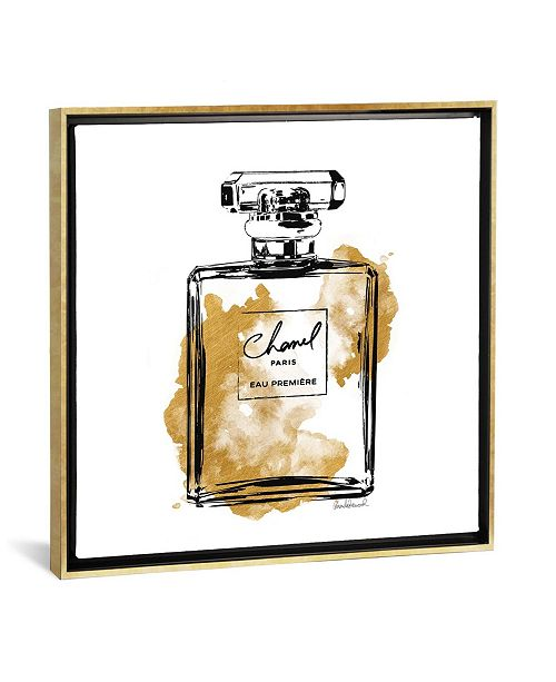 "iCanvas Black and Gold Perfume Bottle by Amanda Greenwood Gallery-Wrapped Canvas Print - 18"" x 18"" x 0.75"""