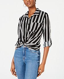 Juniors' Striped Twist-Front Button-Up Shirt
