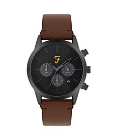 Farah Men's the Chrono Collection Tan Leather Strap Watch 42mm