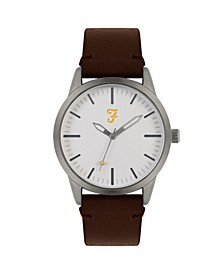 Men's the Classic Collection Brown Leather Strap Watch 42mm