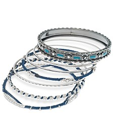 GUESS Silver-Tone 7-Pc. Set Crystal, Stone & Thread-Wrapped Bangle Bracelets, Created for Macy's