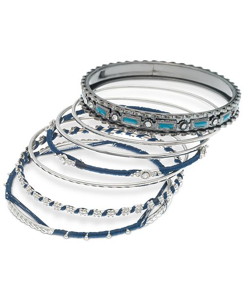 c53dae616328c Silver-Tone 7-Pc. Set Crystal, Stone & Thread-Wrapped Bangle Bracelets,  Created for Macy's