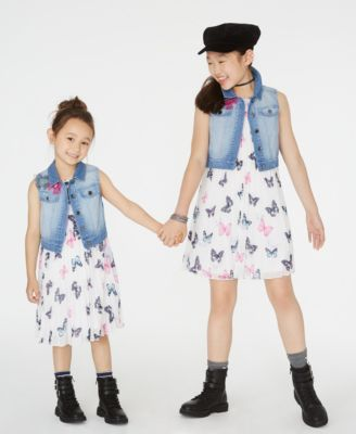 Big Girls 2-Pc. Butterfly-Print Shift Dress & Denim Vest Set