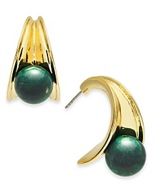 Alfani Gold-Tone & Green Malachite Stone Sculpted Hoop Earrings, Created for Macy's