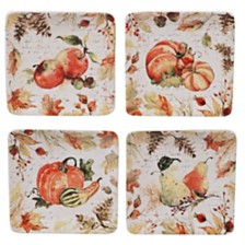 Certified International Harvest Splash Square Canape Plate, Set of 4