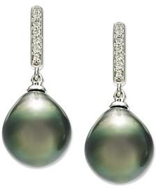 Cultured Tahitian Pearl (10mm) & Diamond (1/10 ct. t.w.) Drop Earrings in 14k White Gold