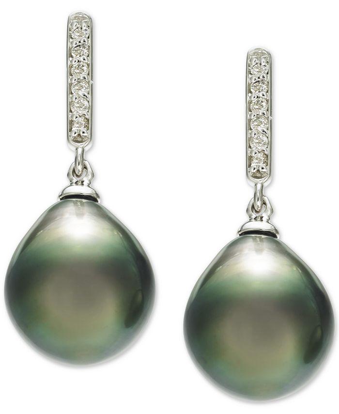 Macy's - Cultured Tahitian Pearl (10mm) & Diamond (1/10 ct. t.w.) Drop Earrings in 14k White Gold