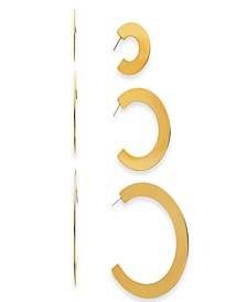 Gold-Tone 3-Pc. Set Thin Hoop Earrings, Created for Macy's
