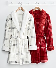 Martha Stewart Collection Plaid Holiday Robe, Created for Macy's