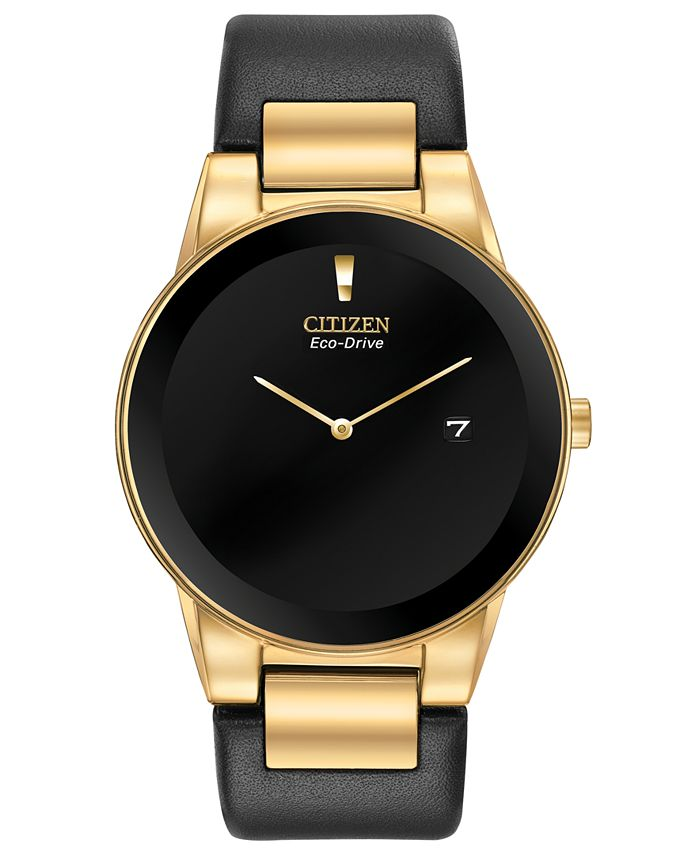 Citizen - Men's Axiom Black Leather Strap Watch 40mm