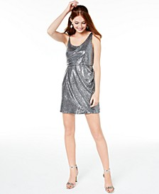 Juniors' Disco-Dot Drape-Front Dress