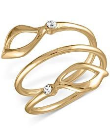 RACHEL Rachel Roy Gold-Tone Pavé Open Leaf Wrap Ring