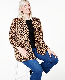 Plus Size Cheetah-Print Cashmere Completer Sweater, Created for Macy's