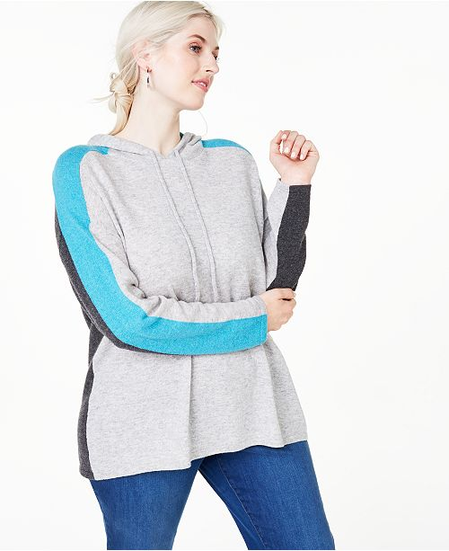Charter Club Plus Size Cashmere Pop Stripe Hooded Sweater, Created for Macy's