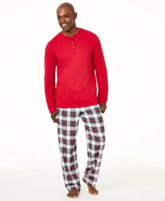 Matching Men's Big and Tall Mix It Stewart Plaid Pajama Set, Created For Macy's