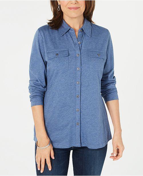 Karen Scott Button-Front Top, Created for Macy's